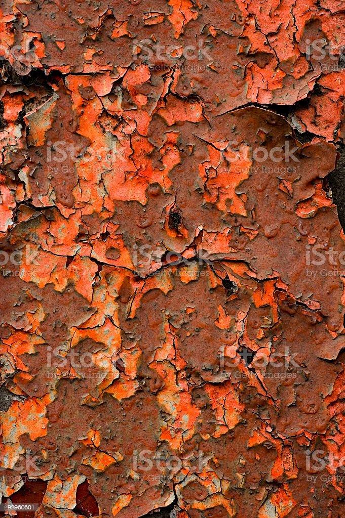 Peeling Orange and Red Paint royalty-free stock photo