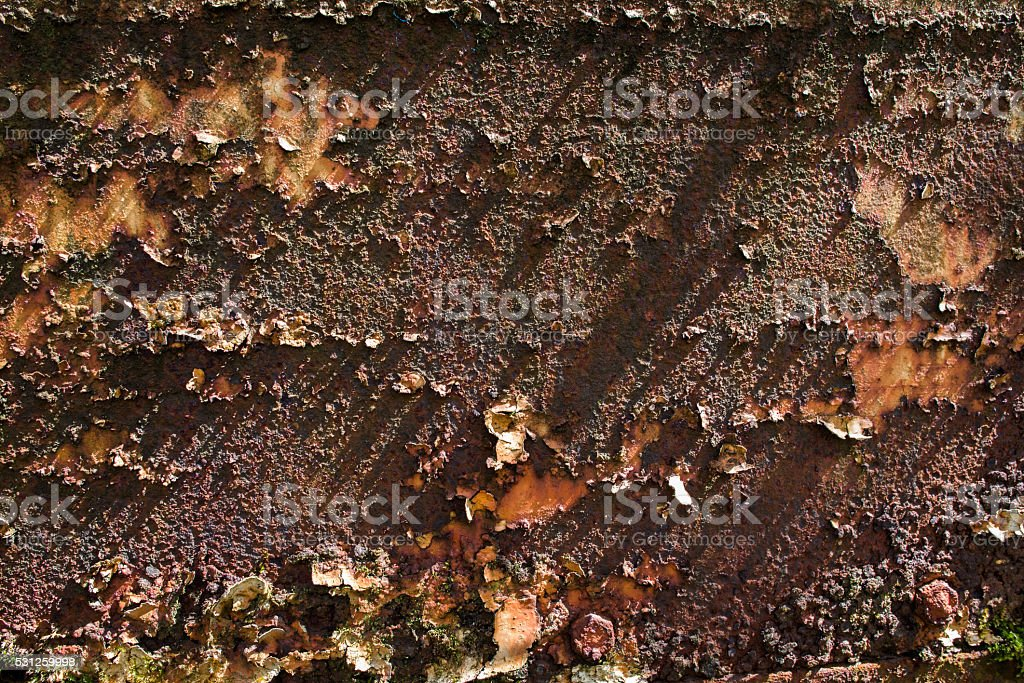 peeling paint and harsh shadows on a rusted metal sheet stock photo