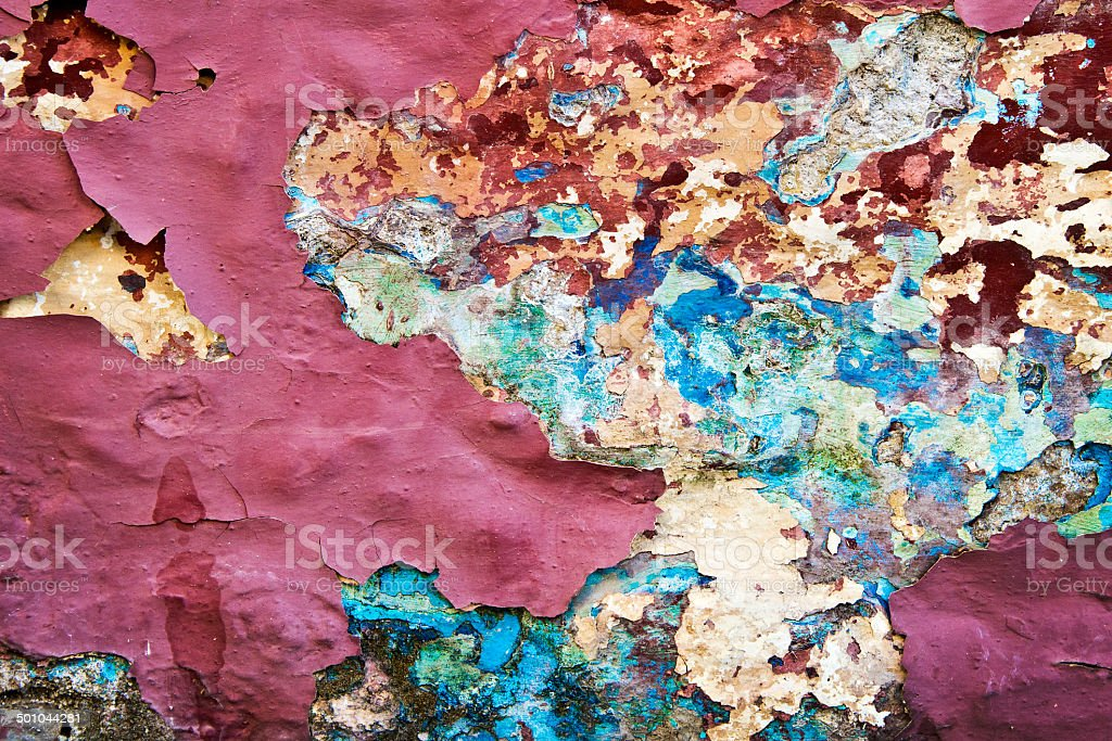 Peeling paint on a wall, Greece stock photo