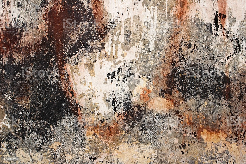 Peeling paint on cement royalty-free stock photo