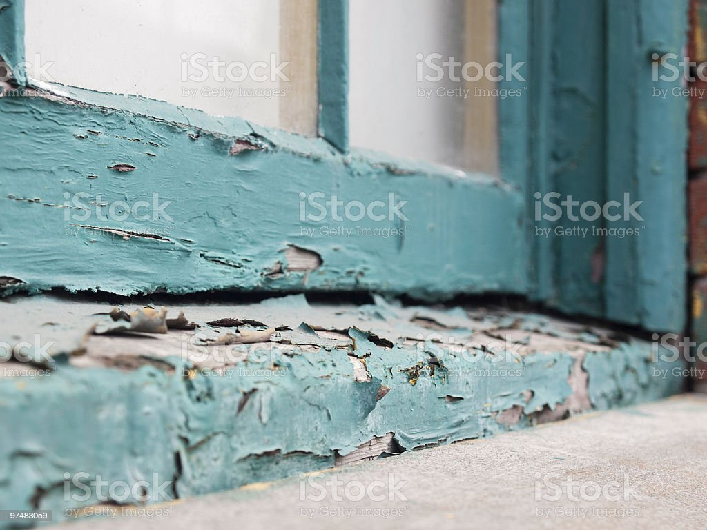 Peeling paint on old window sill stock photo