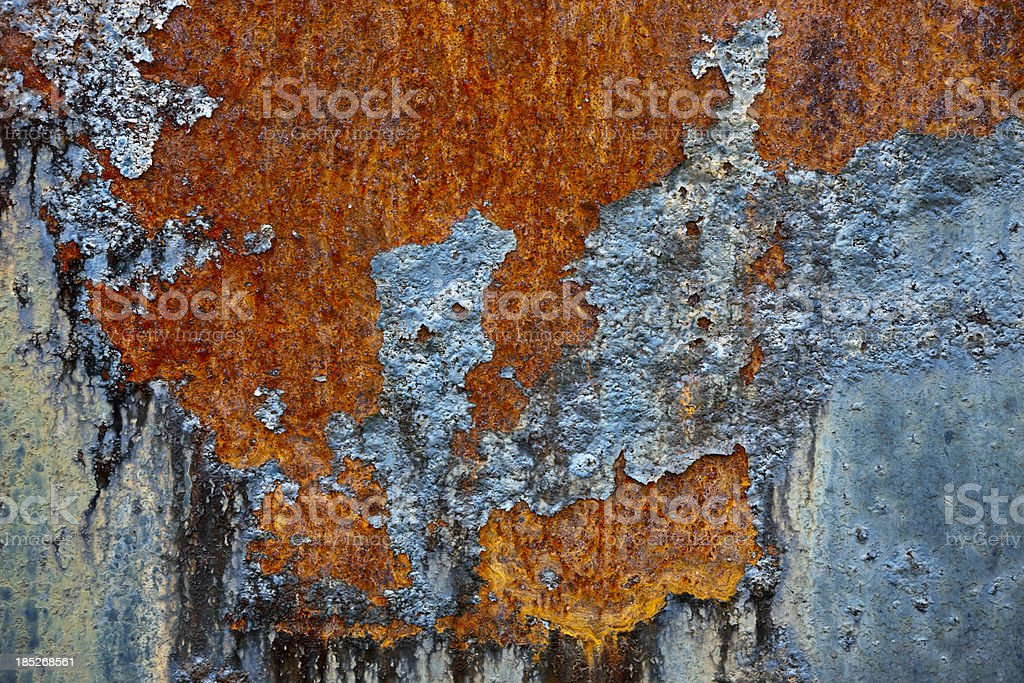 Peeling Paint on Rusty Metal XXXL Background royalty-free stock photo