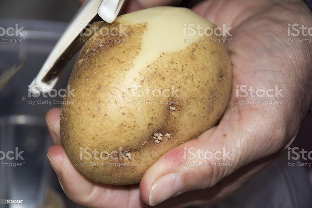 Peeling Potatos royalty-free stock photo
