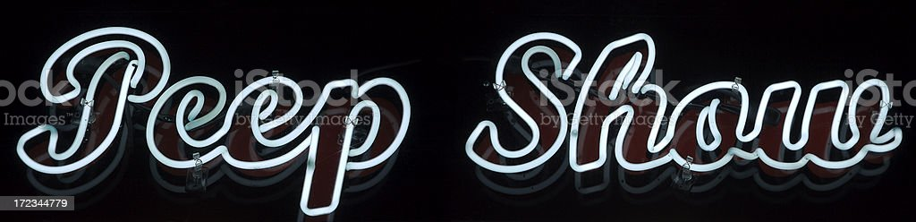 Peep Show Sexy Neon Sign Message royalty-free stock photo