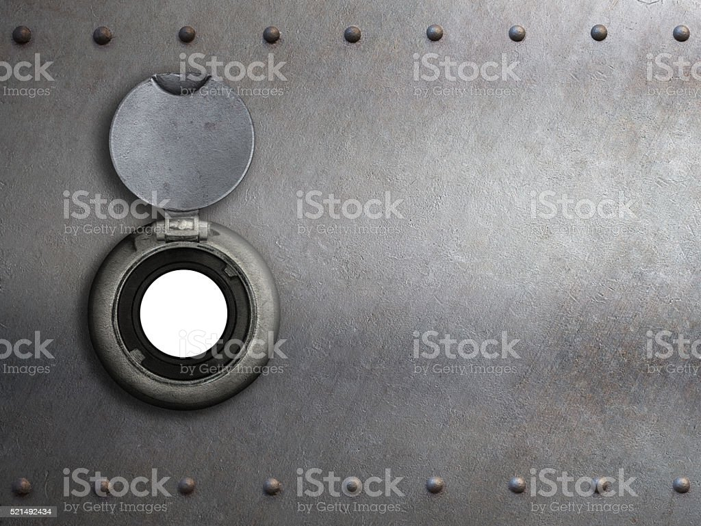 peephole on metal armored door stock photo
