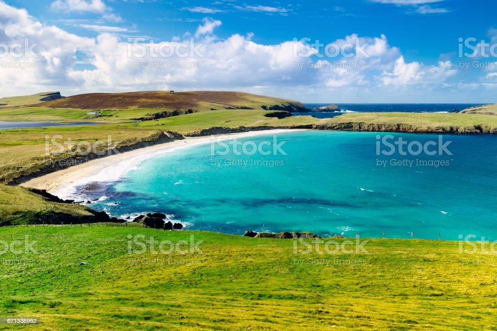 Peerie Voe beach in the Shetland Islands, Scotland stock photo
