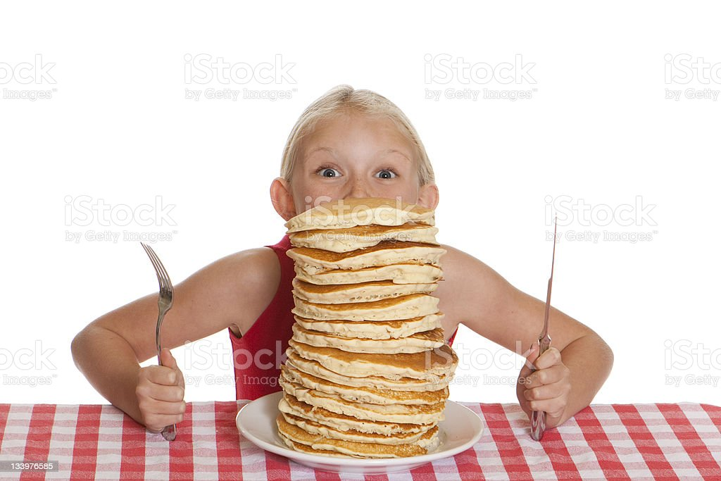 Peering Over Pancakes royalty-free stock photo