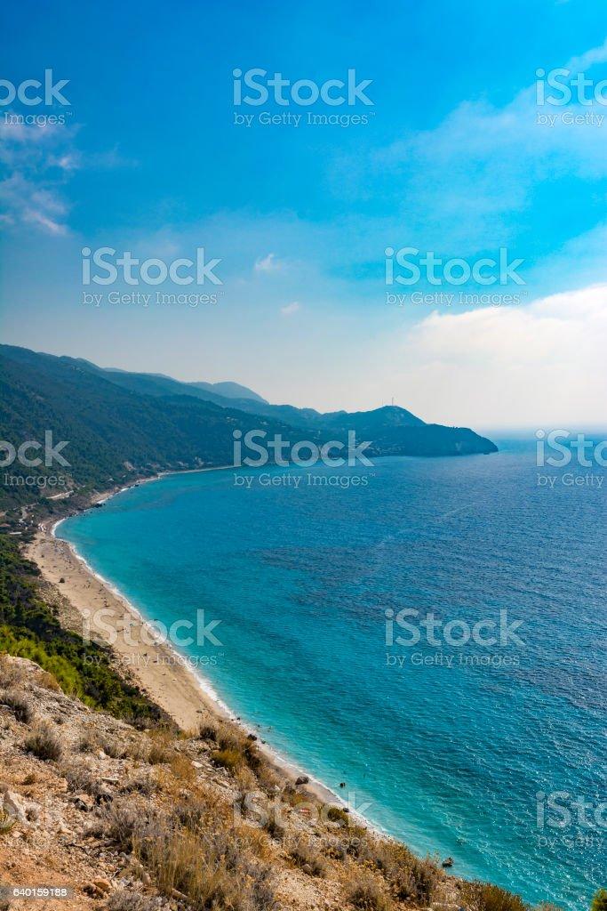 Pefkoulia beach in lefkada, Greece stock photo