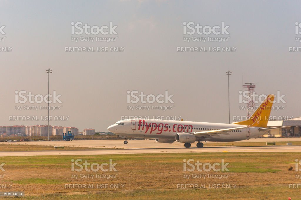Pegasus Airline airplane is landing at sabiha-gokcen airport istanbul turkey stock photo