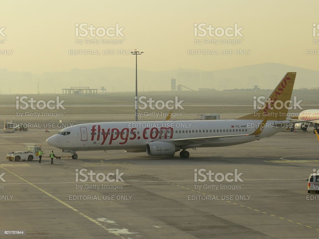 Pegasus Airlines airplane ready for flight stock photo