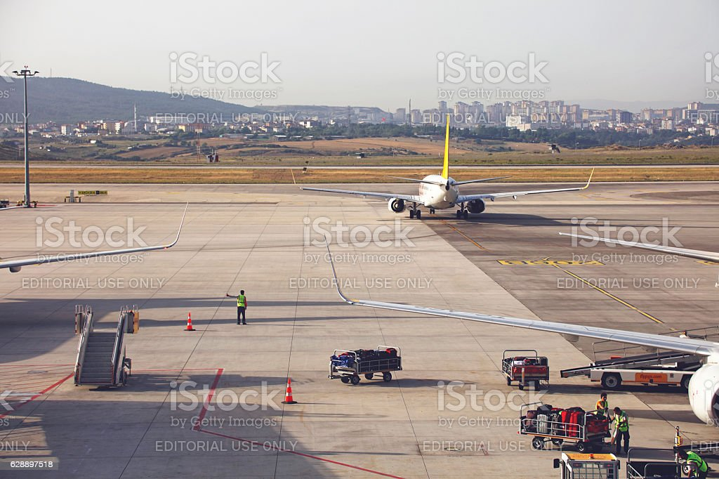 Pegasus Airways airplane at Sabiha Gokcen Airport stock photo