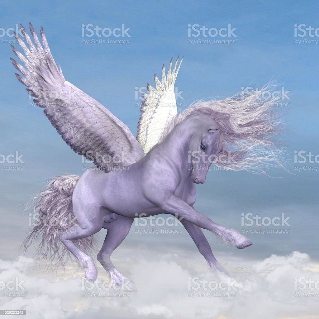 Pegasus among the Clouds stock photo