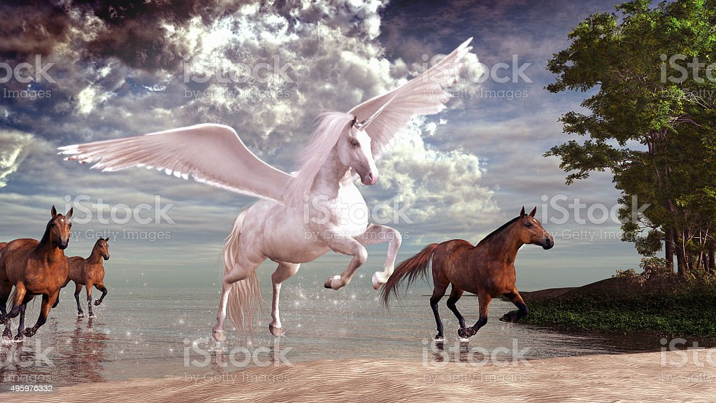Pegasus and horses stock photo