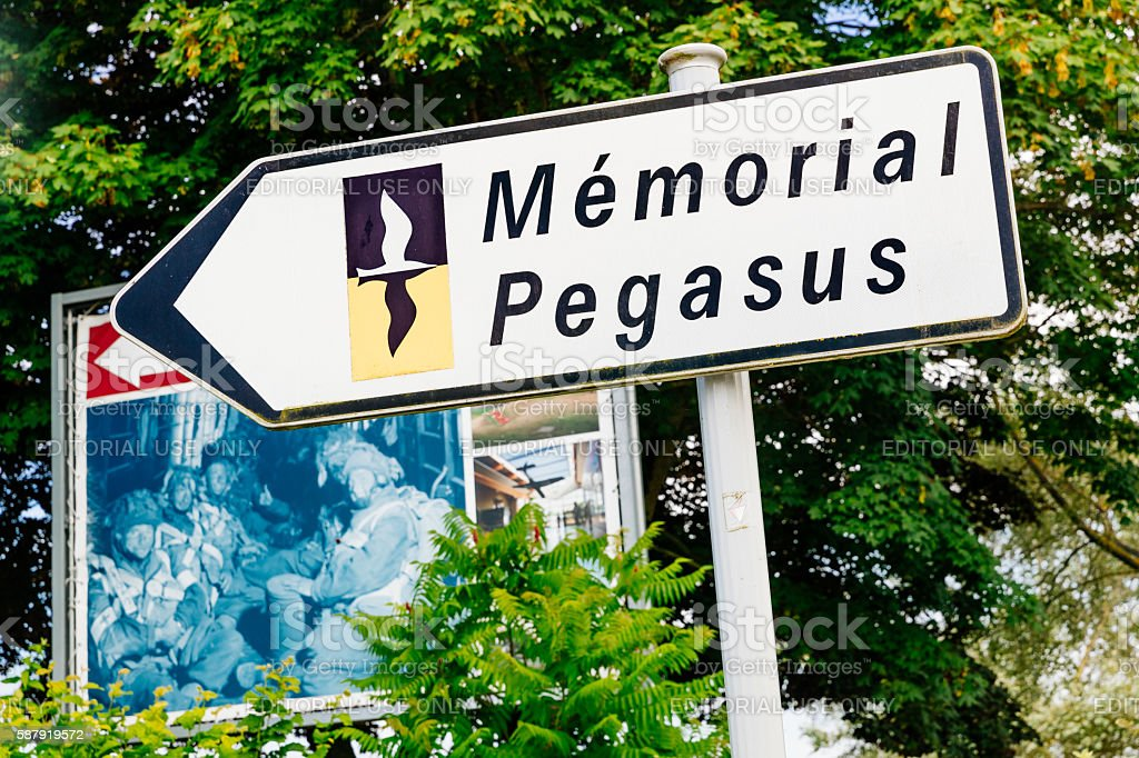 Pegasus Bridge road sign, Normandy stock photo