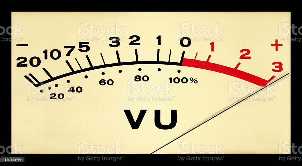Pegged VU Meter stock photo