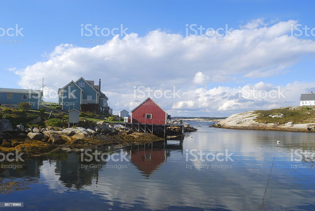 Peggy's Cove Harbor during a clear day stock photo