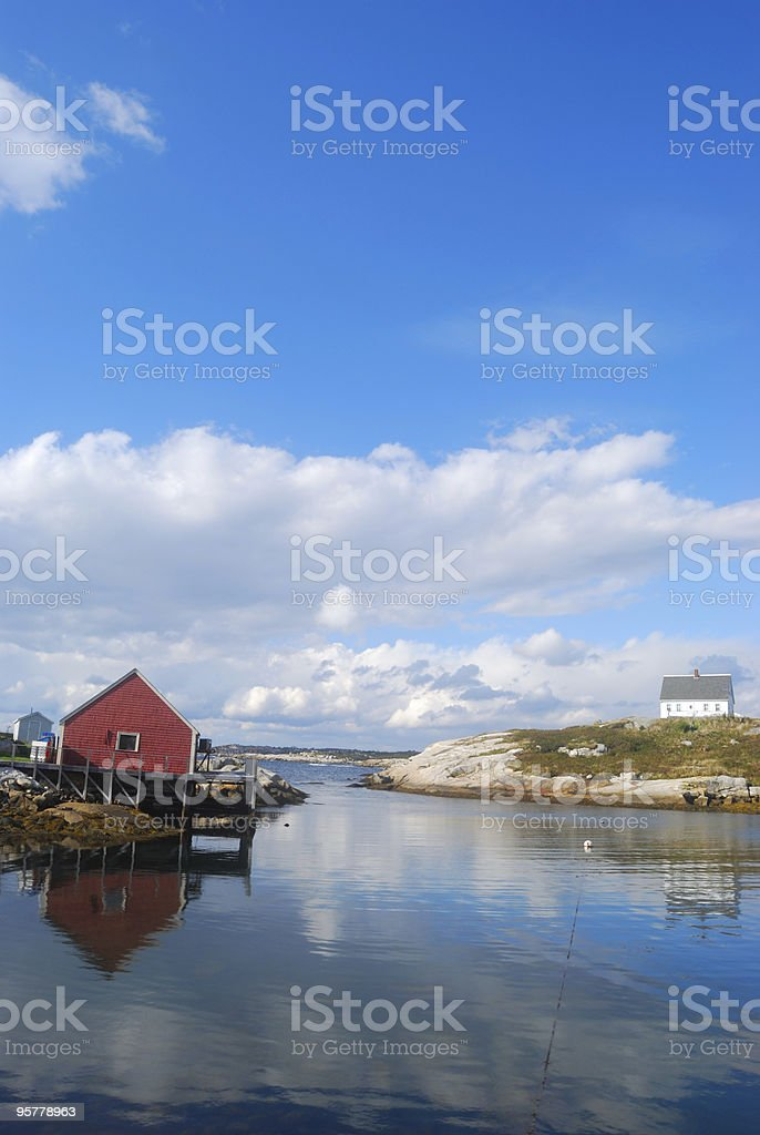 Peggy's Cove Harbor during a clear day with reflection portrait stock photo