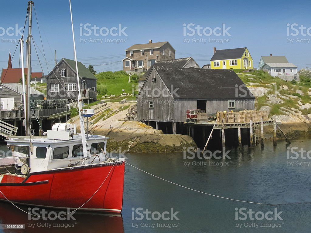 peggy's cove harbour scene stock photo