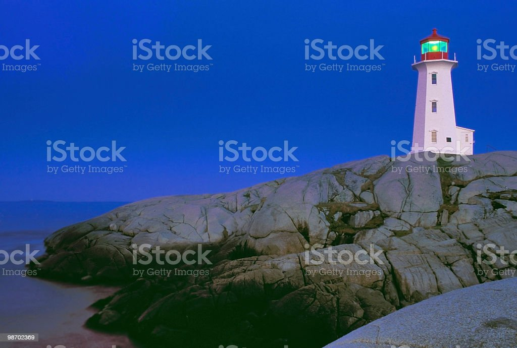 peggys cove light at night stock photo