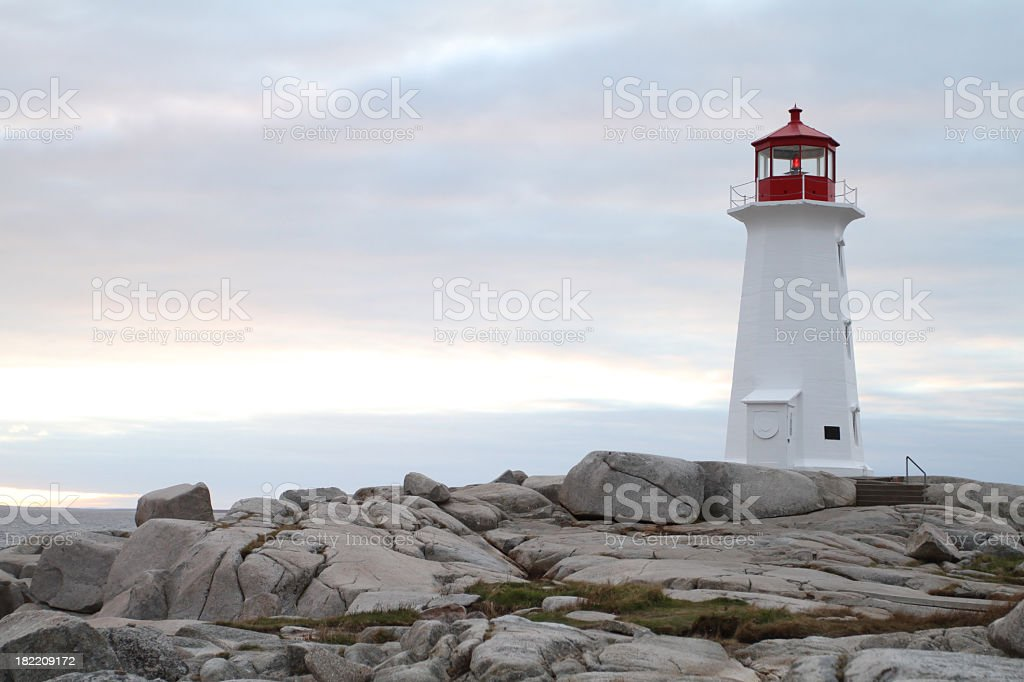 Peggy's Cove Lighthouse, A Popular Nova Scotia Tourist Attraction royalty-free stock photo