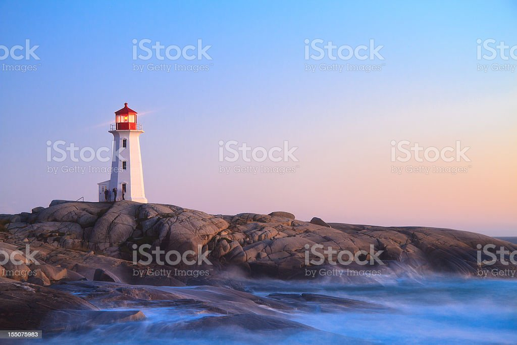 Peggy`s Cove Lighthouse at Dusk stock photo
