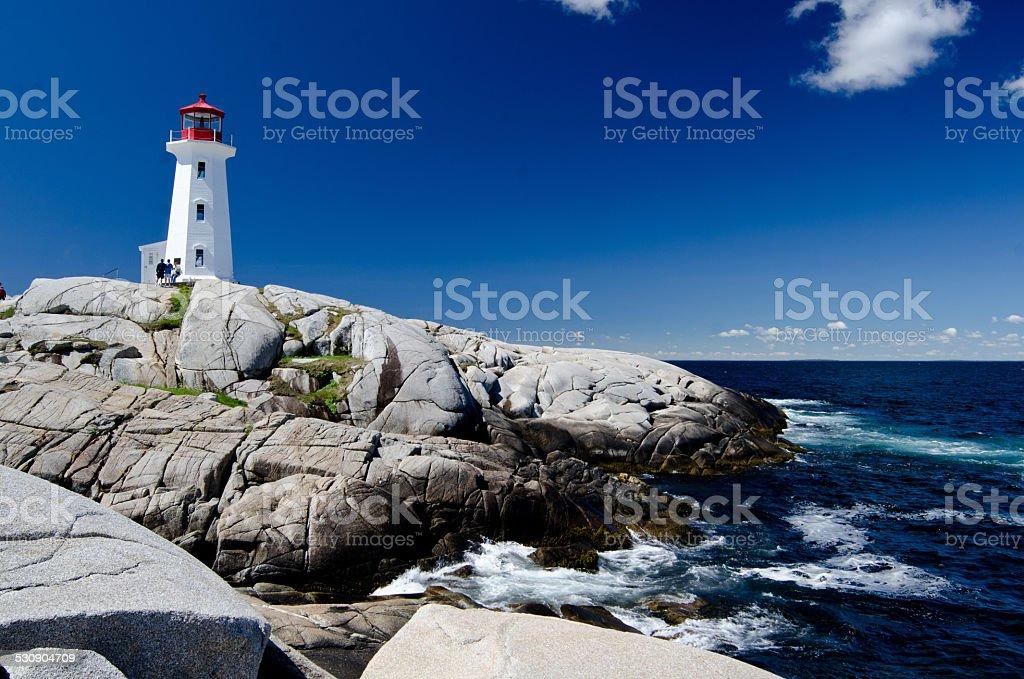 peggys cove lighthouse in Nova Scotia stock photo