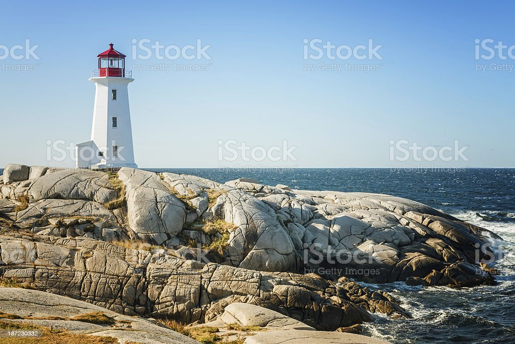 Peggy's Cove Lighthouse Nova Scotia Canada royalty-free stock photo