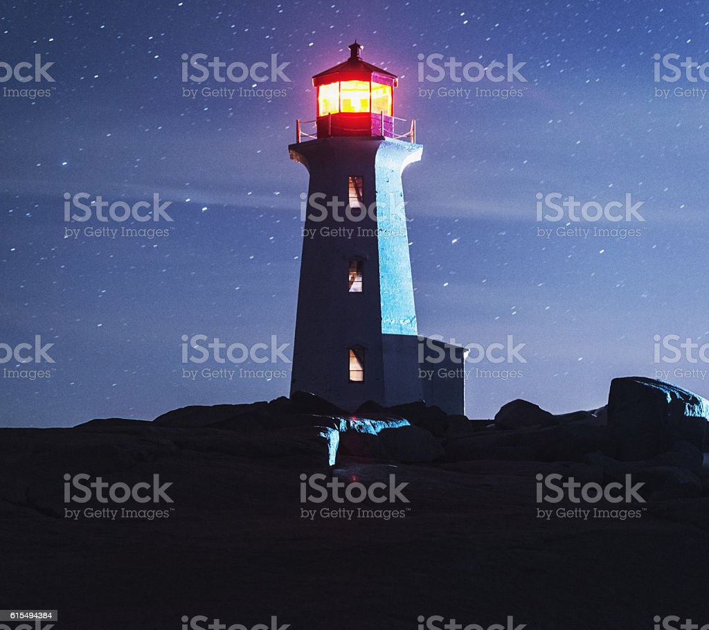 Peggy's Cove Moonlight stock photo