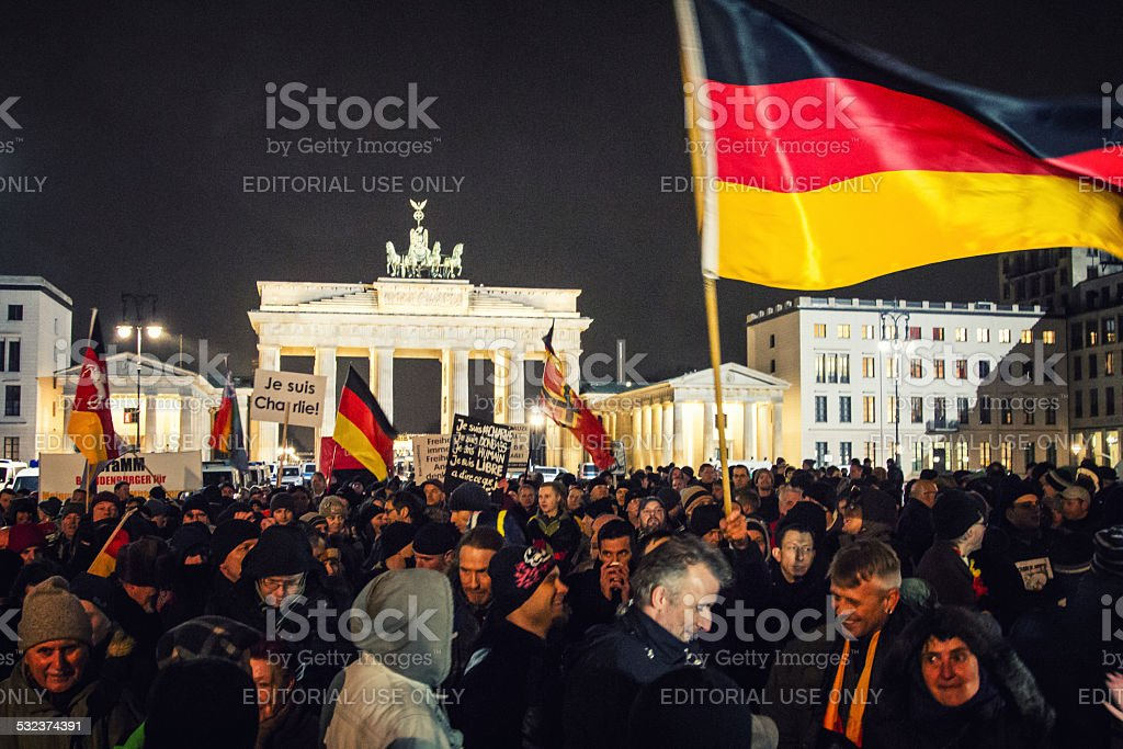 Pegida demonstration at Berlin stock photo