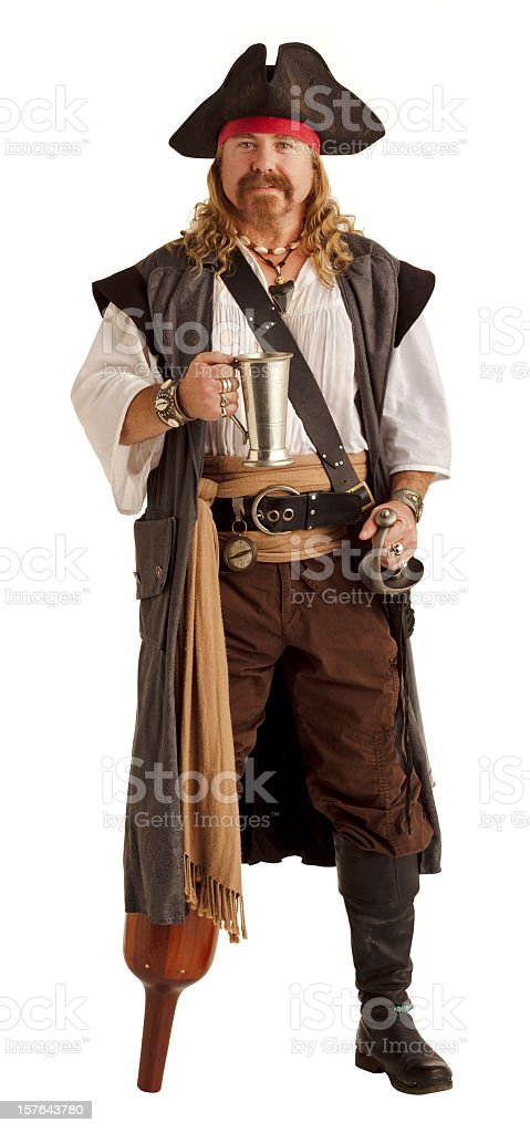 Pegleg pirate holds a silver mug stock photo