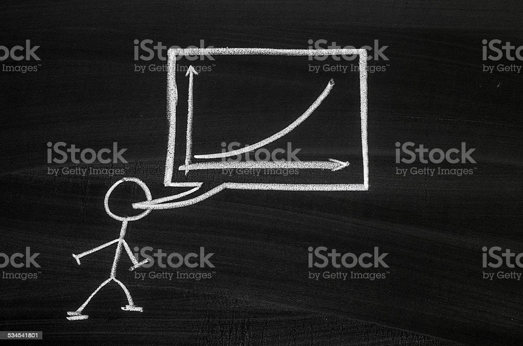 Pegman and graph stock photo