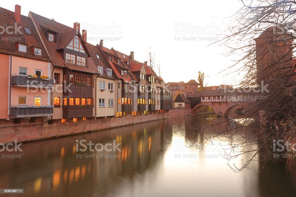 Pegnitz Riuver at Trodelmarkt in Numermberg stock photo