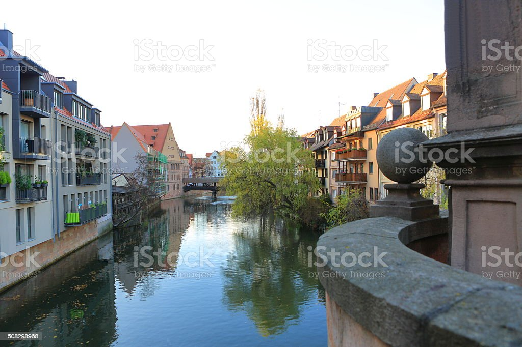 Pegnitz River in Nuremberg stock photo