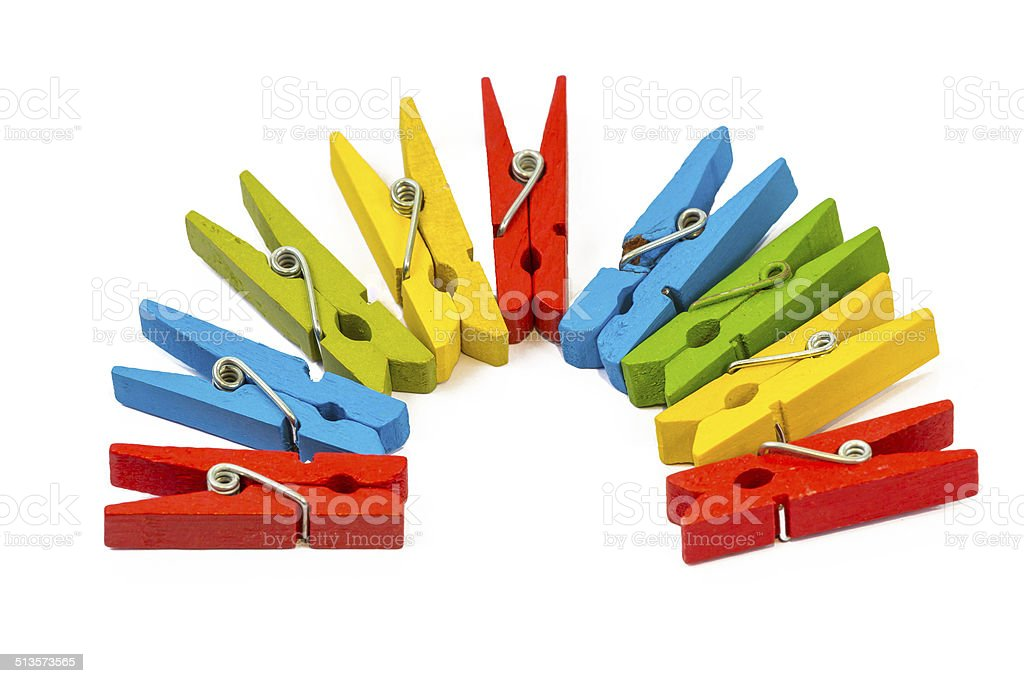pegs clip in colourful stock photo