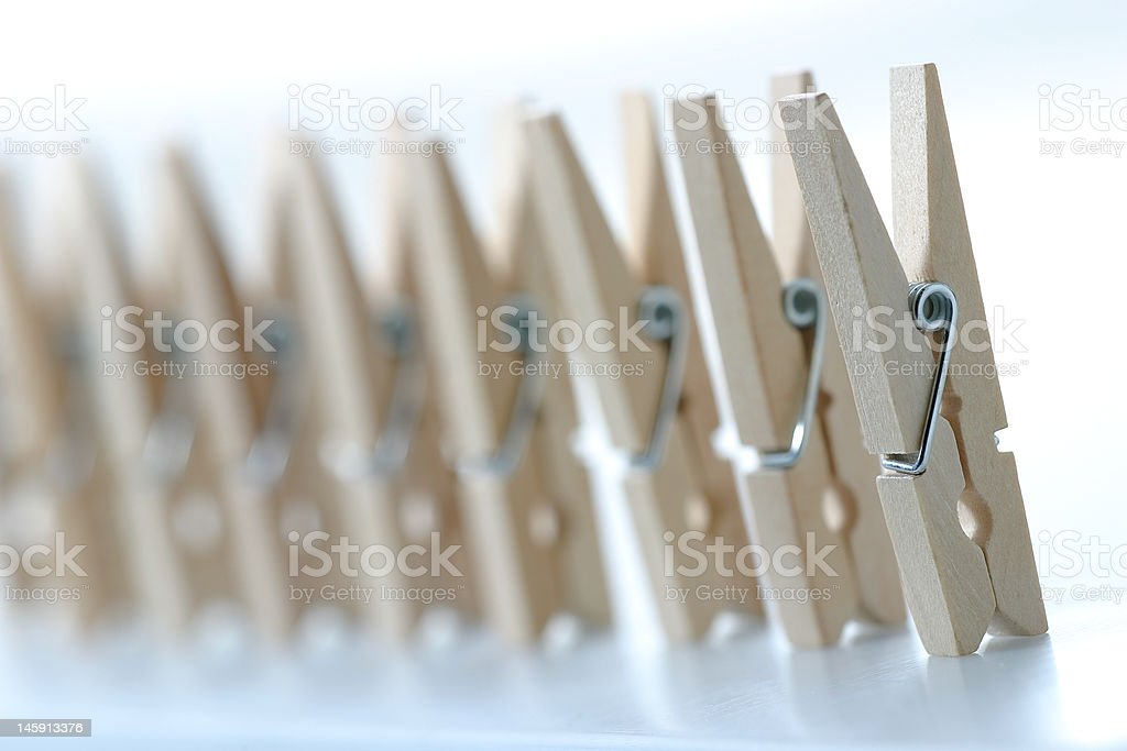 pegs in a raw4 royalty-free stock photo