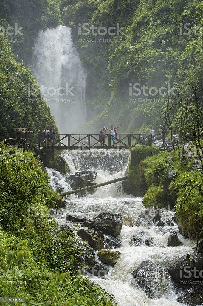 Peguche waterfall, Ecuador stock photo