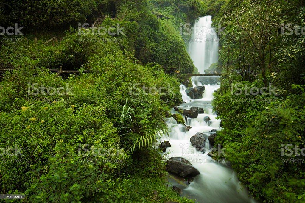 Peguche Waterfall stock photo
