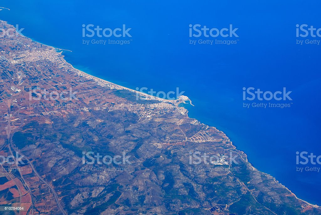 Peñiscola from the airplane stock photo