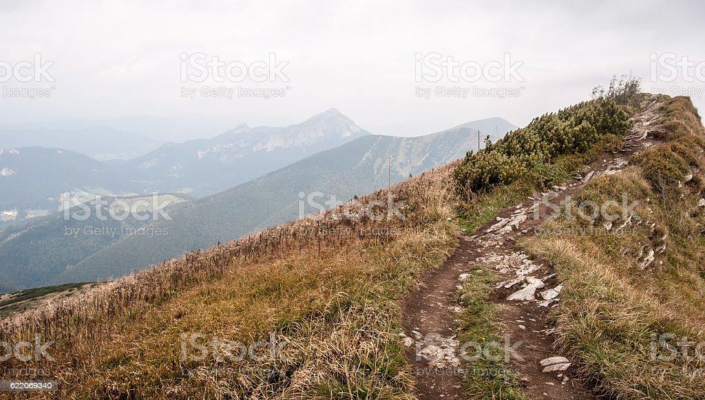 Pekelnik hill in autumn Mala Fatra mountains in Slovakia stock photo