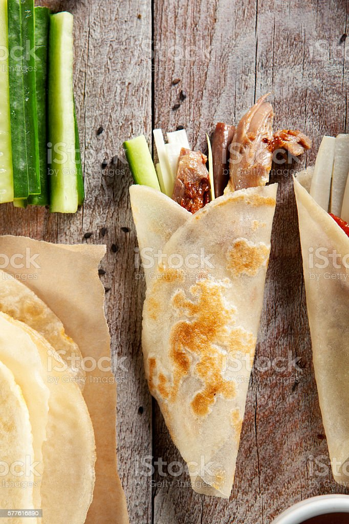 Peking Duck on Parchment stock photo