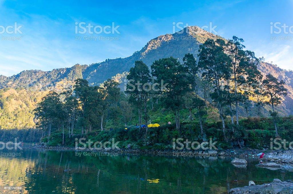 Pelawangan sembalun peak view stock photo