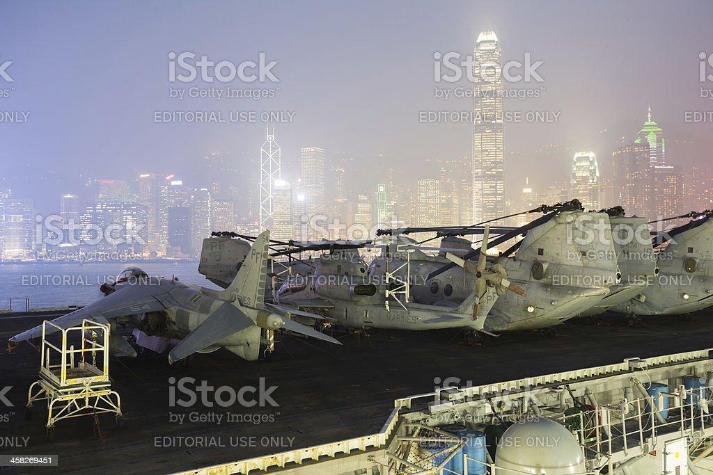 USS Peleliu in Hong Kong royalty-free stock photo