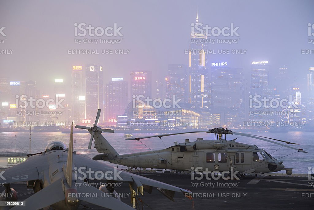 USS Peleliu in Hong Kong royalty-free stock photo