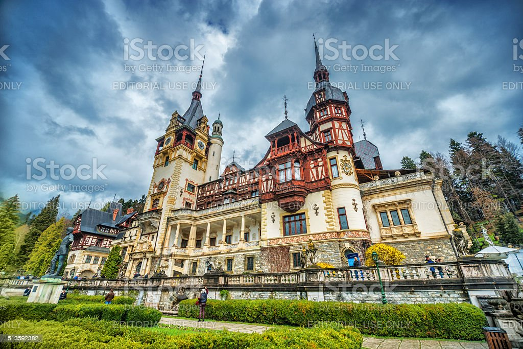 Peles Castle in Sinaia, Romania stock photo