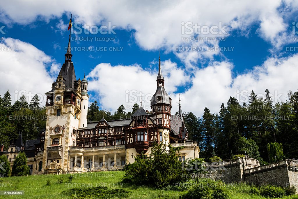 Peles Castle in Sinaia, Transylvania, Romania stock photo