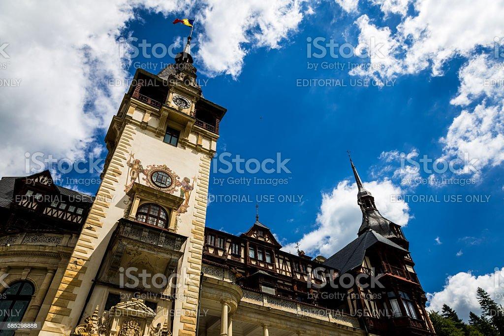 Peles Castle in Sinaia, Transylvania, Romania stock photo