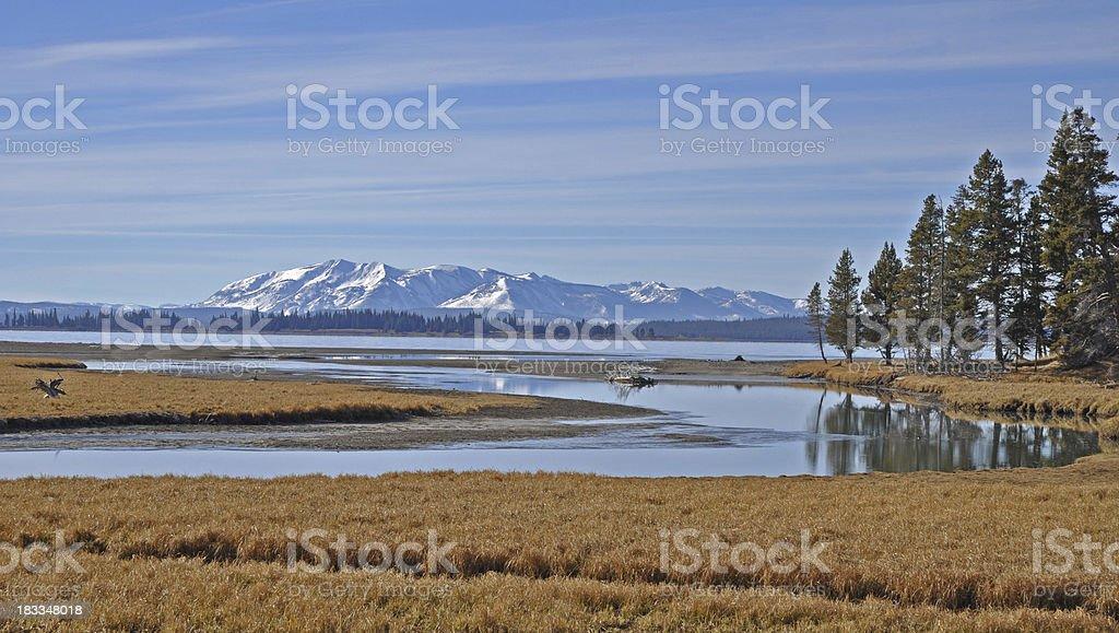 Pelican Creek Inlet to Yellowstone Lake stock photo