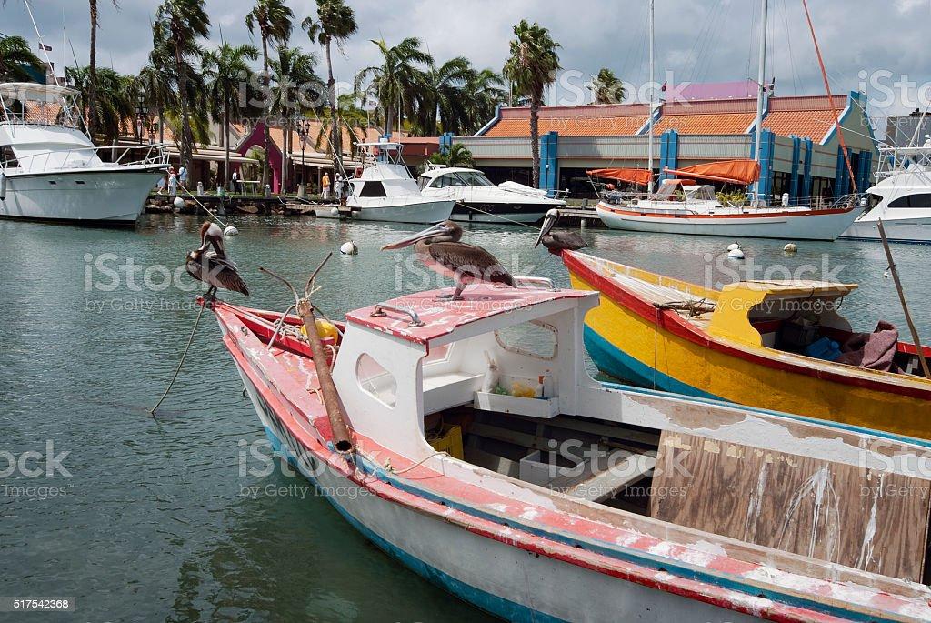 Pelicans on a small fishing boat at Oranjestad Harbor, Aruba stock photo