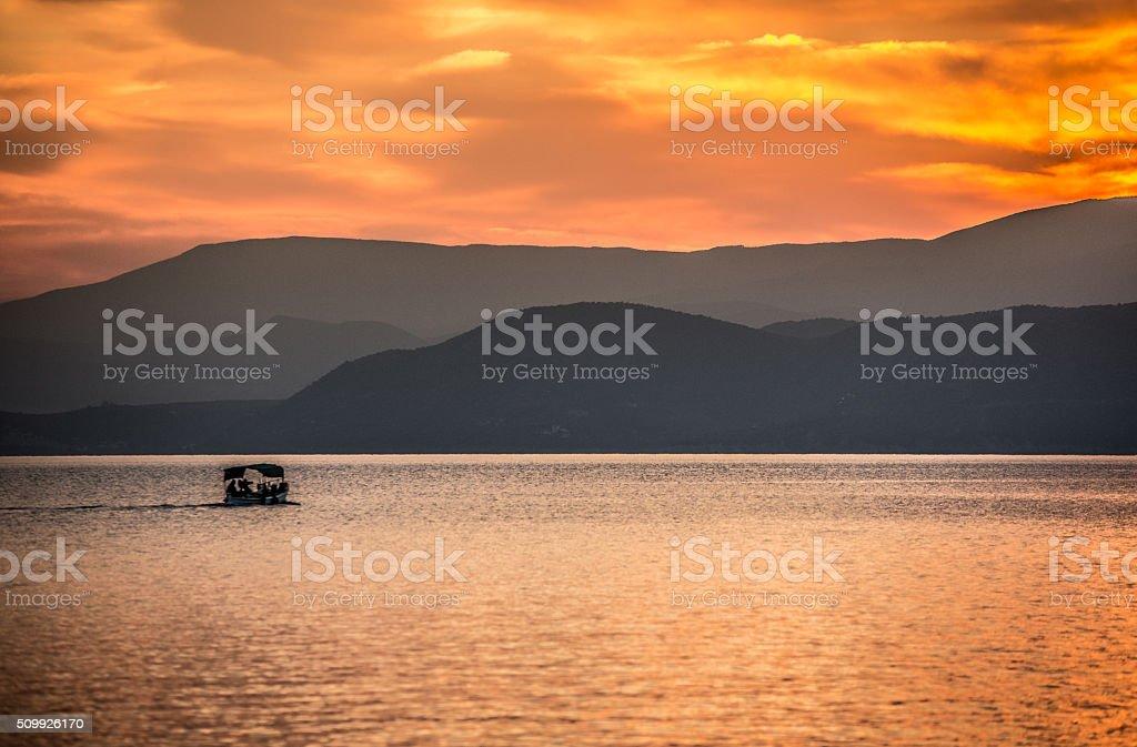 Pelion sunset stock photo