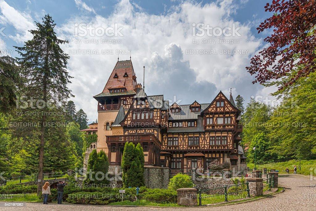 Pelisor castle in Sinaia stock photo